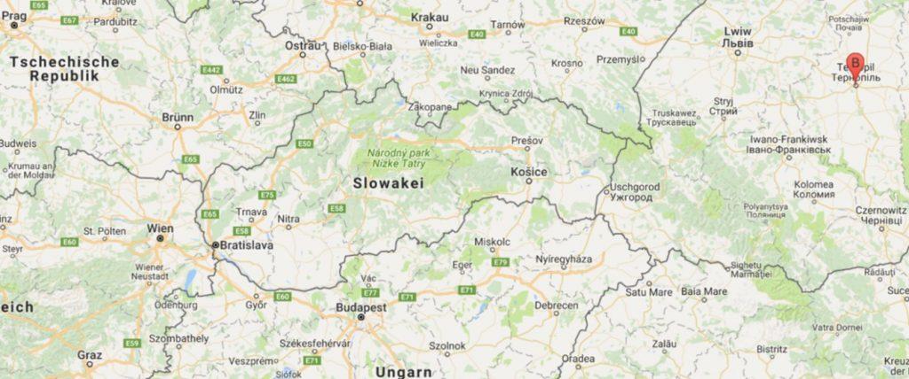 Lage von Ternopil' im Vergleich zu Wien. Foto: Google Maps