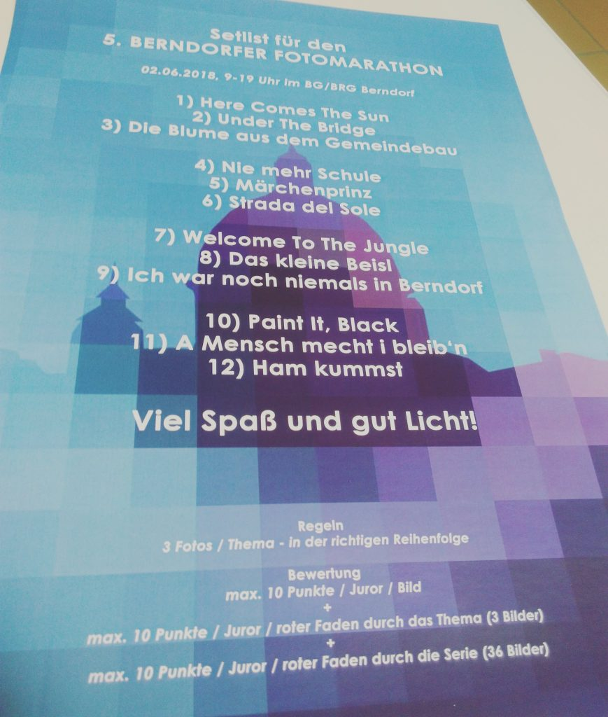 Setlist statt Themenliste beim 5. Berndorfer Fotomarathon